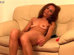 Old European slut grinding on the couch