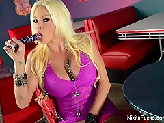 Nikita von James rams her wet cooter with a phat toy